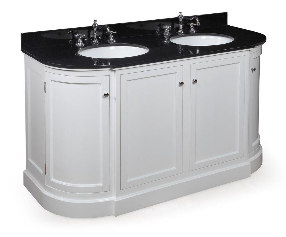 60 double sink white bathroom vanity w black granite top chrome rh pinterest com