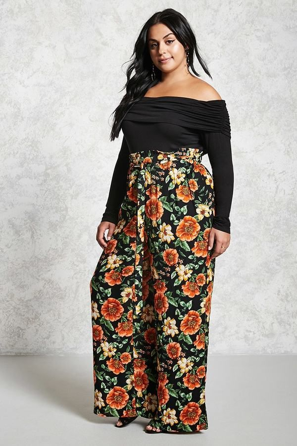 0b48e0104f5 FOREVER 21+ Plus Size Floral Palazzo Pants  afflink