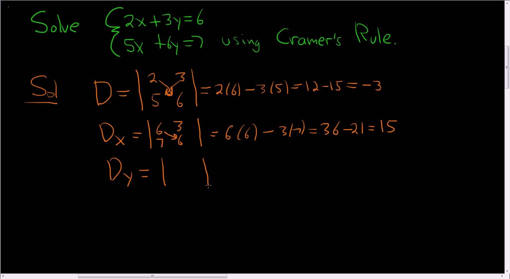 Cramers Rule Example With Two Equations