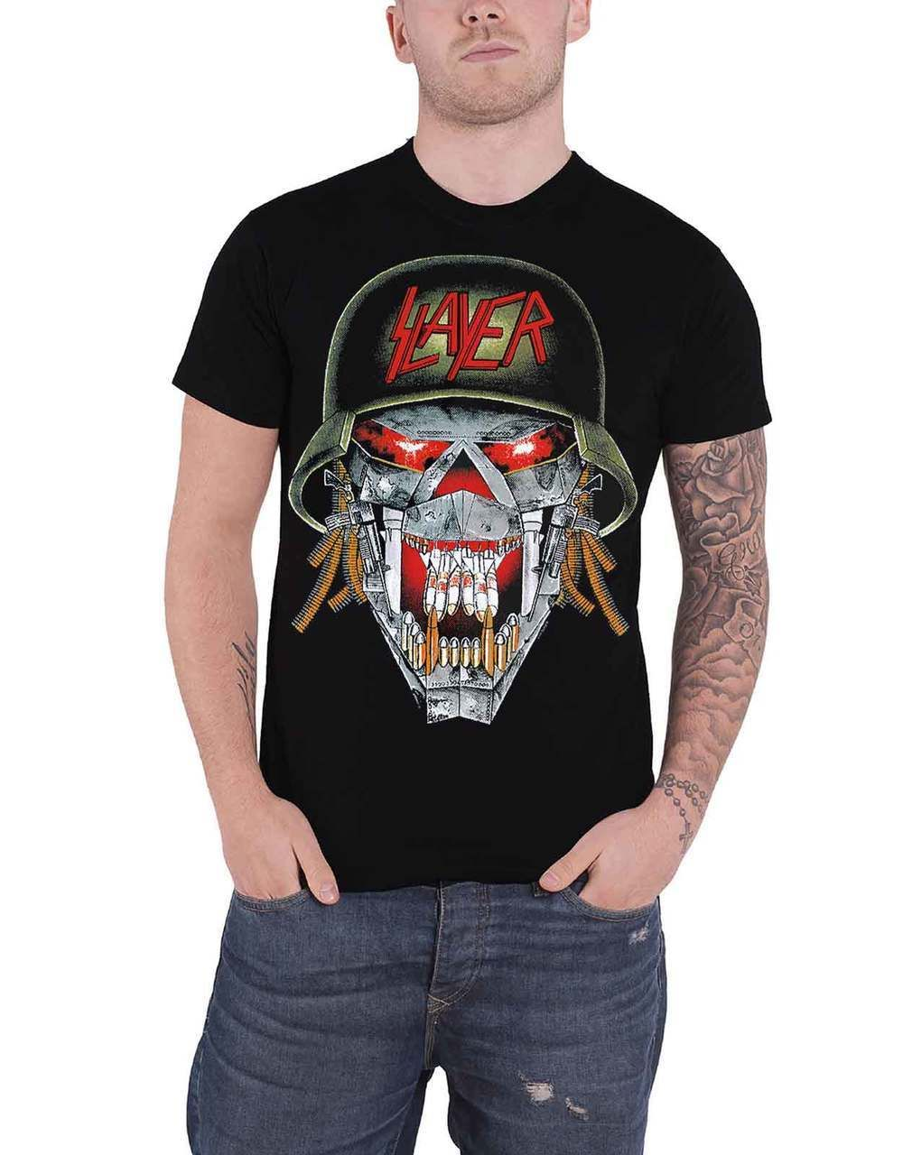 60fbe5468 Slayer T Shirt War Skull Ensemble Band Logo Mens Black - Paradiso Clothing