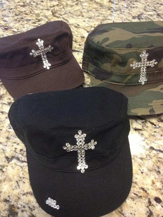 01edff7d76a Military style hat with bling cross by 2girlswhomakecrosses