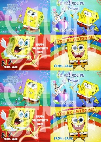 spongebob valentines day card spongebob valentine funpartyprintz cards on artfire - Spongebob Valentine Cards