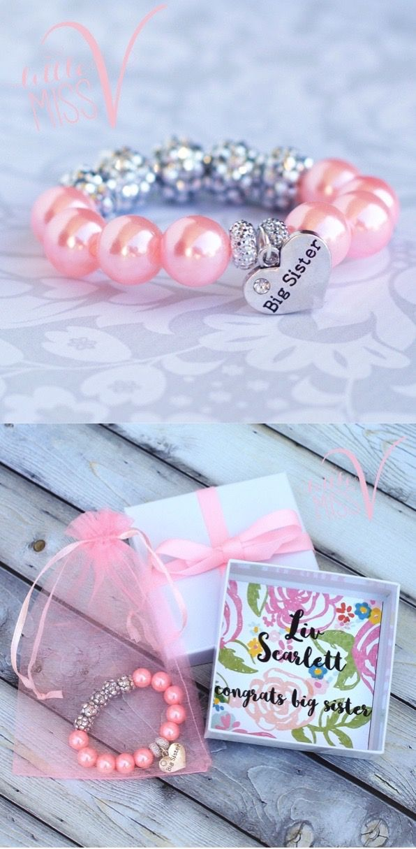 Fun sparkle bracelet for big sister to be Perfect for baby – Baby Announcement Party