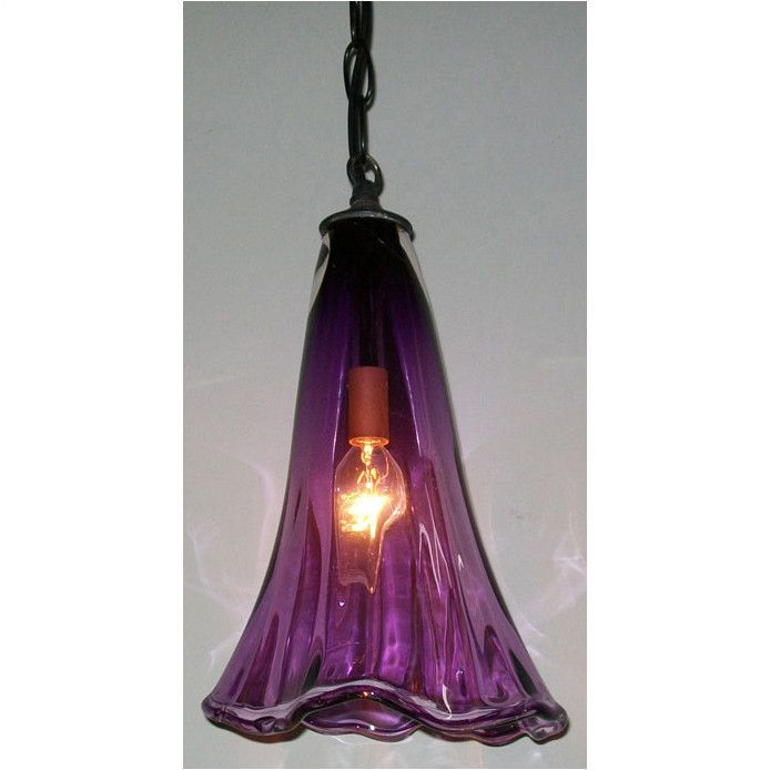 Crystal Postighone Purple Glass Pendant Light Artistic Artisan Hand Blown Pendants