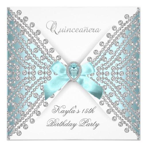 Quinceanera 15th Teal Blue White Faux Diamond 5.25x5.25 Square Paper Invitation Card