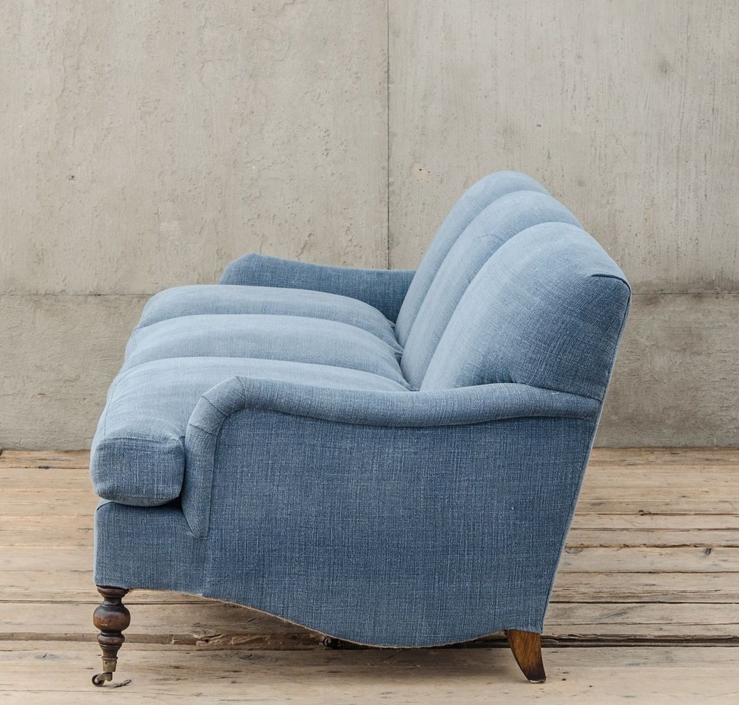 professor plum s blue linen upholstered english roll arm sofa rh pinterest com