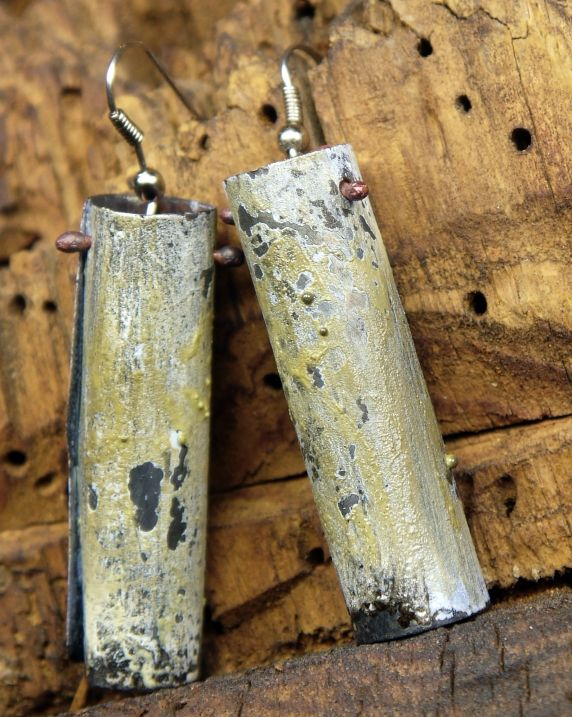 green enamel tube earrings