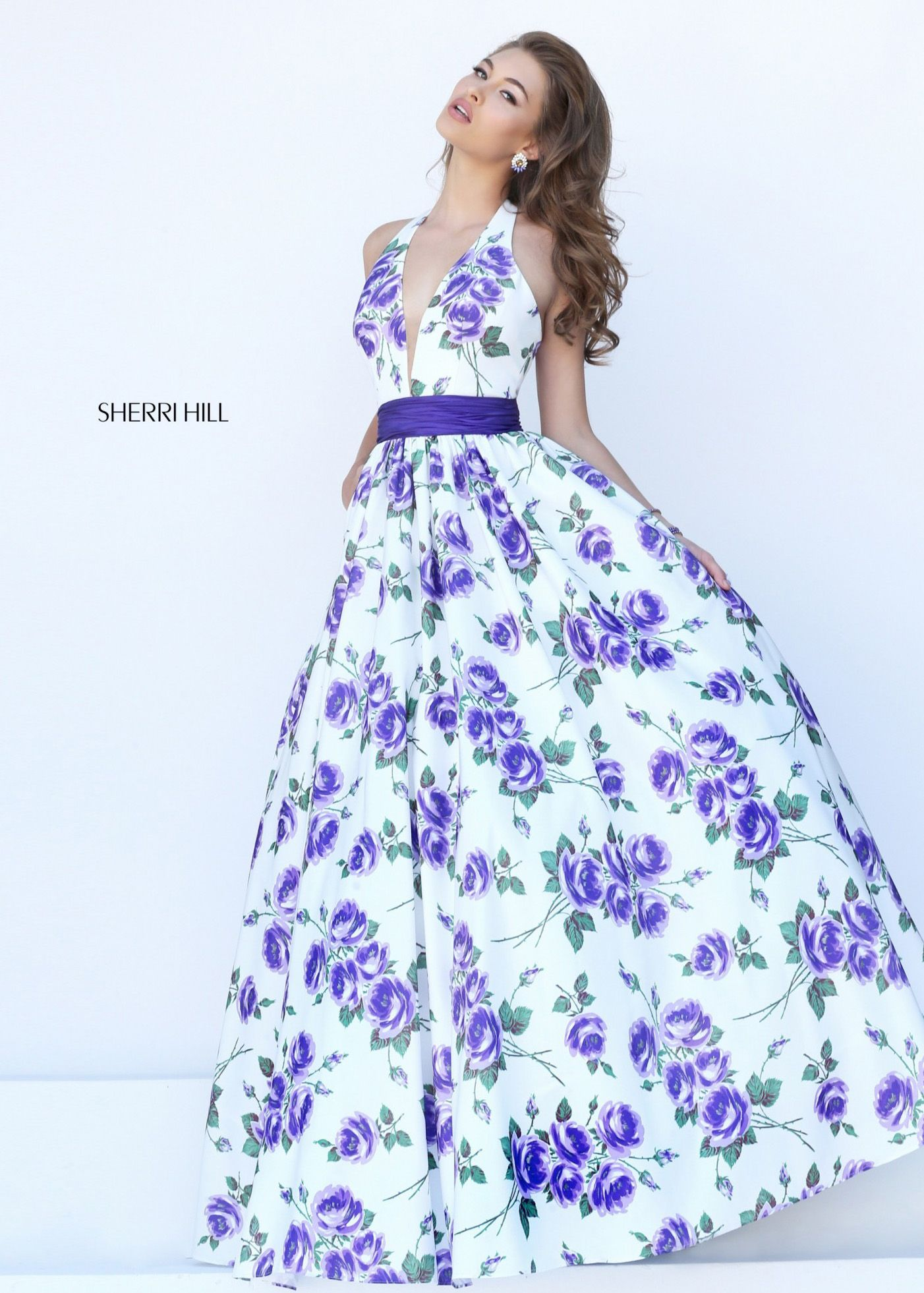 Y Halter Low Cut V Neck Ivory Purple Fl Print Ball Gown