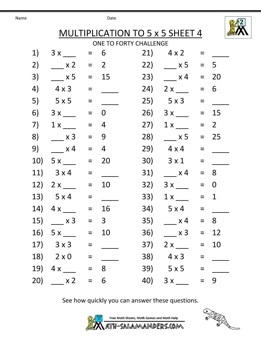 Multiplication Worksheets Grade 3 3rd grade math