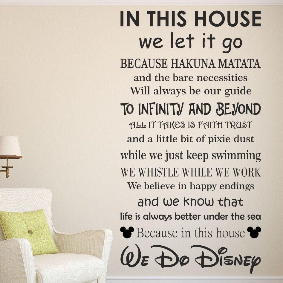 We Do Disney House Rules Vinyl Wall Art Sticker Quote Kids Family Wqb17 Disney Wall Stickers Disney Wall Art Disney Home Decor