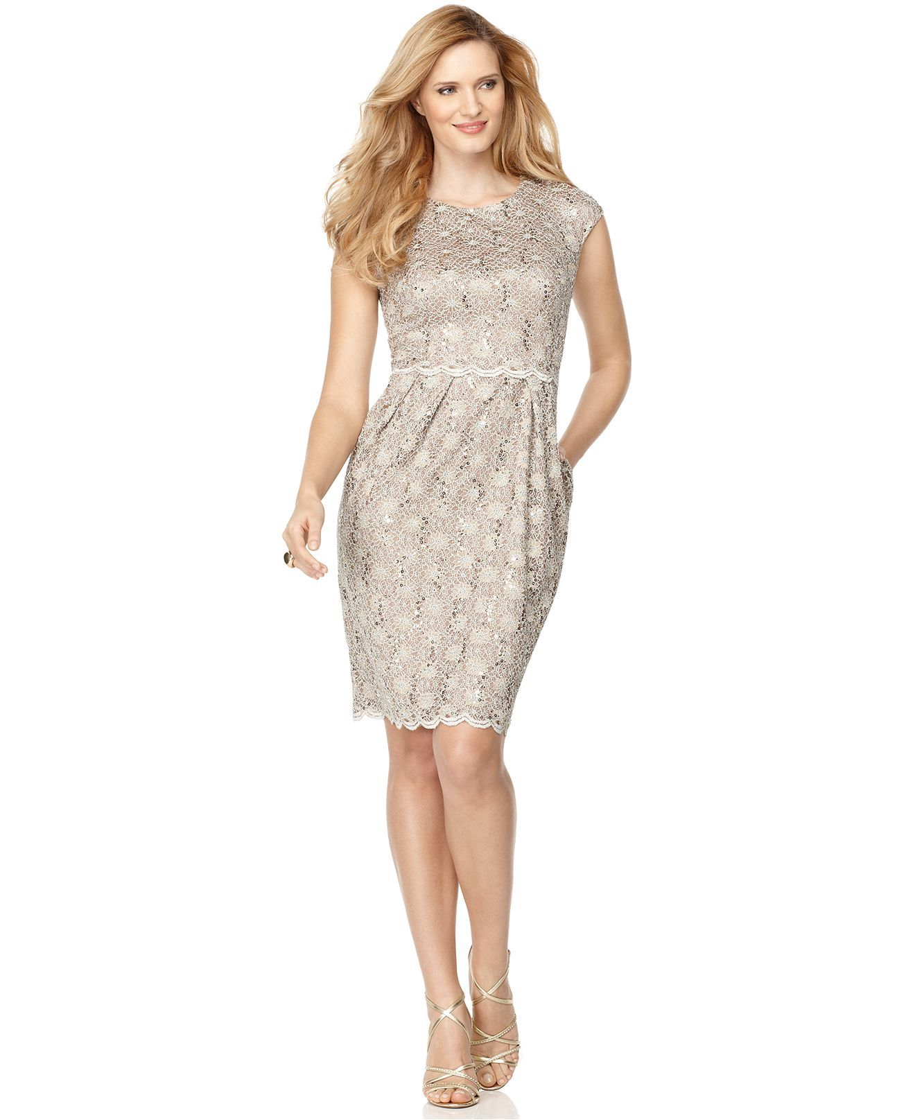 7bf3c5aa2529 Alex Evenings Dress, Sleeveless Sequin Lace Sheath - Womens Dresses - Macy's
