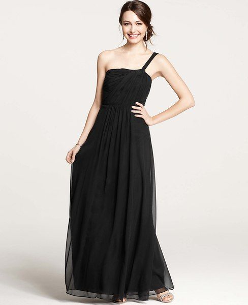 426174a5000 Ann Taylor - Cocktail Dresses: Party Dresses, Evening Gowns, Formal Dresses:  ANN TAYLOR - Silk Georgette One Shoulder Gown