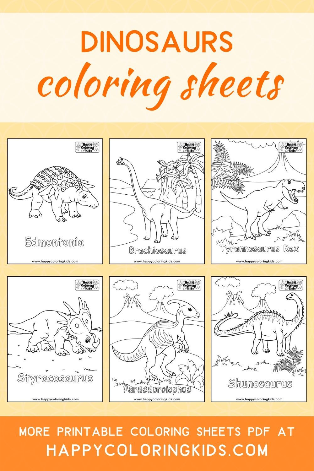Dinosaurs coloring pages for kids free printable in 2020