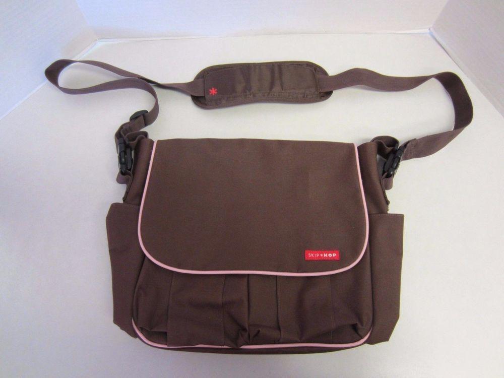 Skip Hop Diaper Bag Brown Pink Trim Messenger Clearance Baby Diapering Bags Ebay