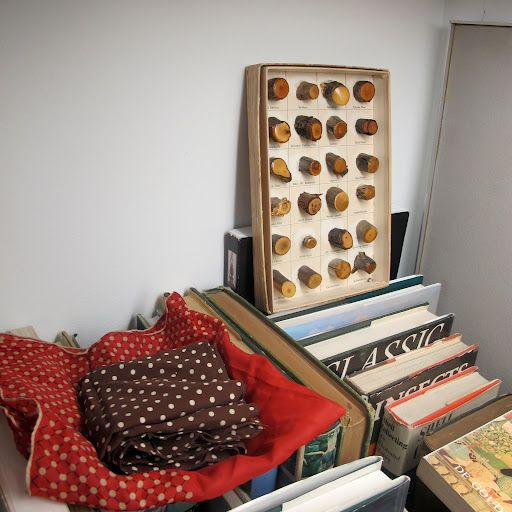 The box in the corner is a collector's item–filled with different types of wood. Students would receive these boxes to demonstrate the differences among things found in nature, such as wood or sea shells in fritz karsh's office