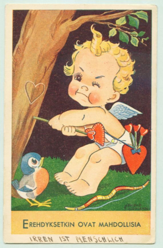 c1940 Art Postcard Cupid Arrow Missed the Goal Heart on Tree by Arnold Tilgman • $5.99 | PicClick