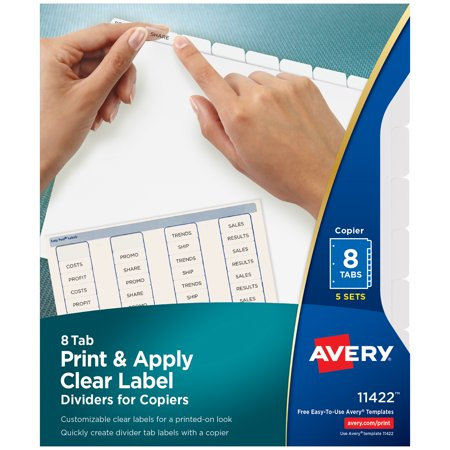 photograph regarding Printable Labels Walmart referred to as Avery Print Put into practice Apparent Label Dividers, Index Company Basic