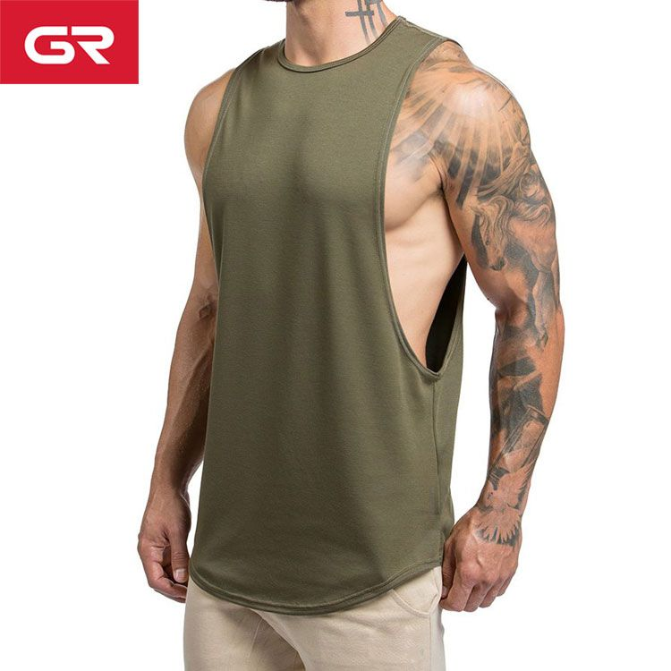 a2d4f641c0ab9 OEM Mens Tank Top Manufacturer Drop Armhole Extended Bottom ...