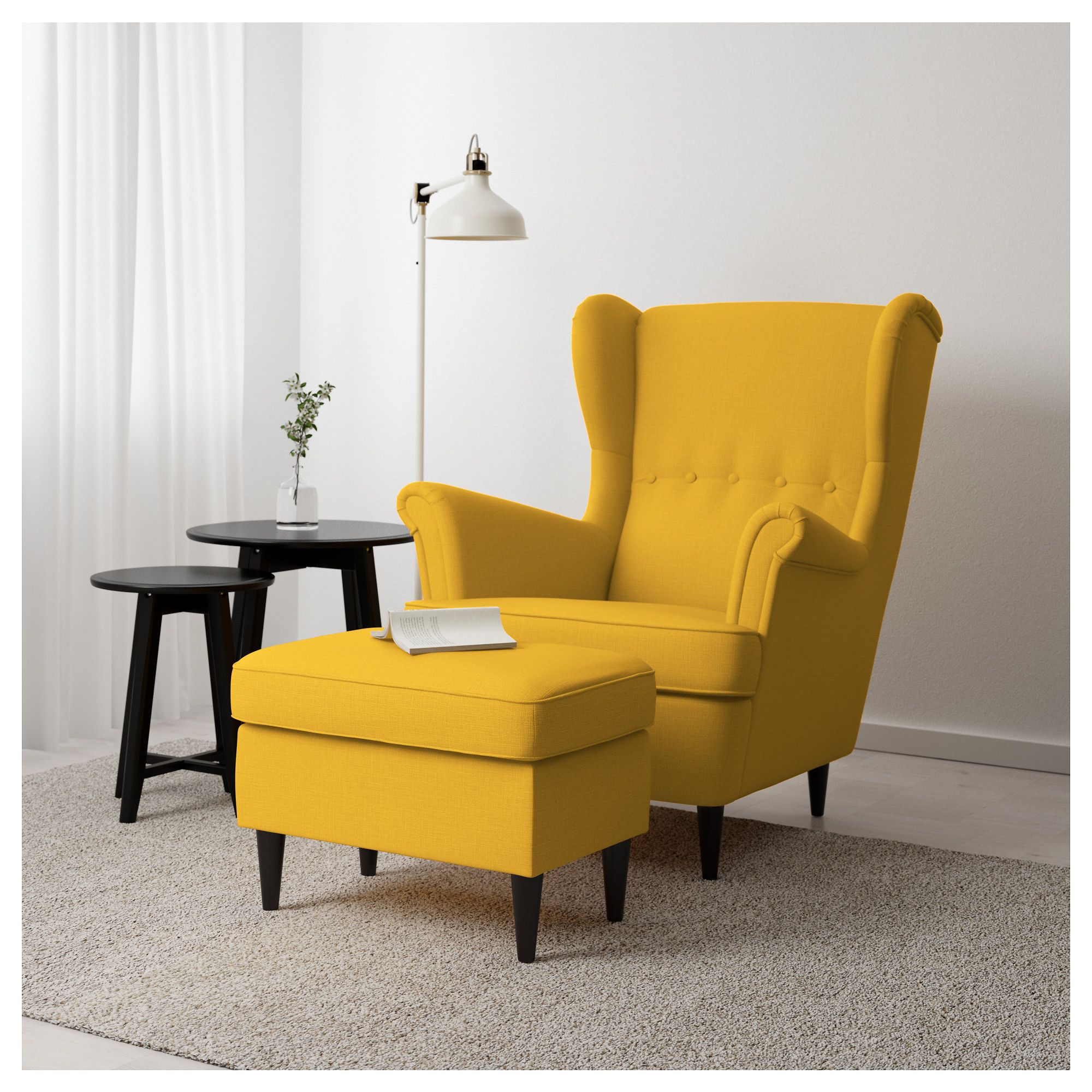 IKEA STRANDMON Footstool Skiftebo yellow in 2019