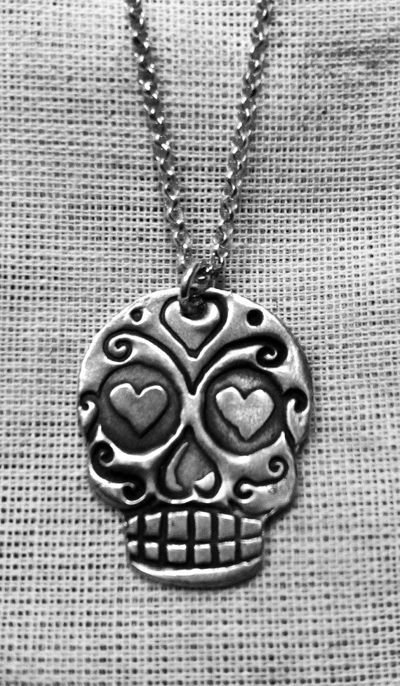 True Love Sugar Skull Fine Silver Pendant by SplendidSparrows, $35.00