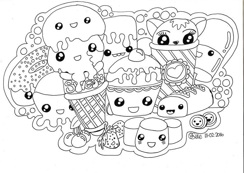 Kawaii Sweets Doodle Unicorn Coloring Pages Doodle Coloring Cute Coloring Pages