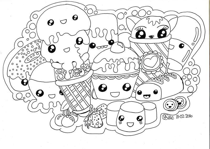 Schattige Kleurplaten Van Eten.Kawaii Sweets Doodle Kawaii Tekeningen Kleurplaten En Kawaii