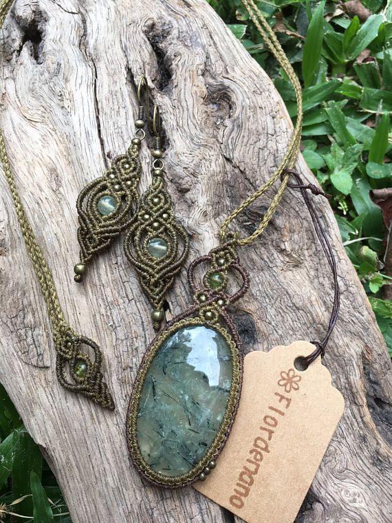 Photo of Micro macrame earringsRutilated Quartz beads macrame earrings,Prehnite beads macrame drop earrings,Gift,Boho earrings 天然石 マクラメピアス