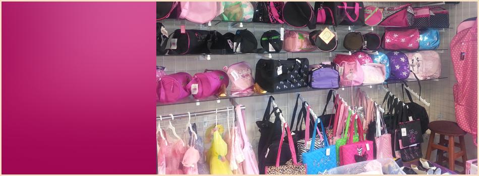 Bags on shelves