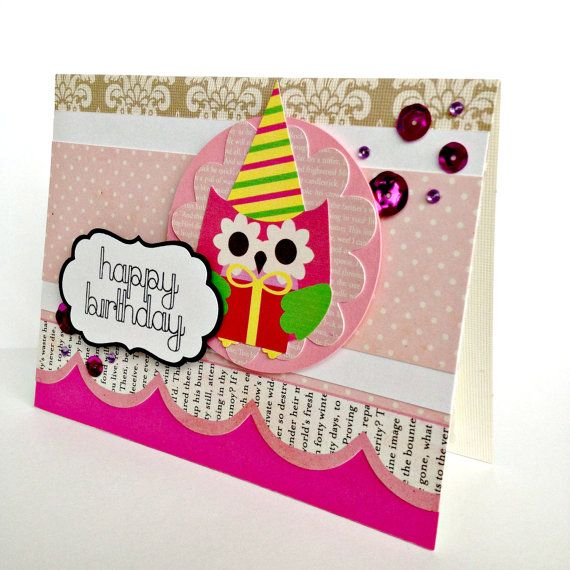 Party Owl Birthday Card Scrapbook Style Party Hat And Gift Cute