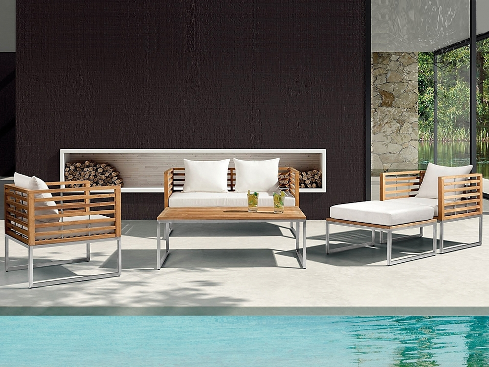 bermuda stainless steel and teak garden furniture set garden sets - Garden Furniture Teak