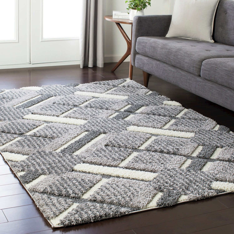rug for living room size%0A Soft Plaid Shag Grey    u       x    u        Grey   Size   u     x    u      Polypropylene   Geometric