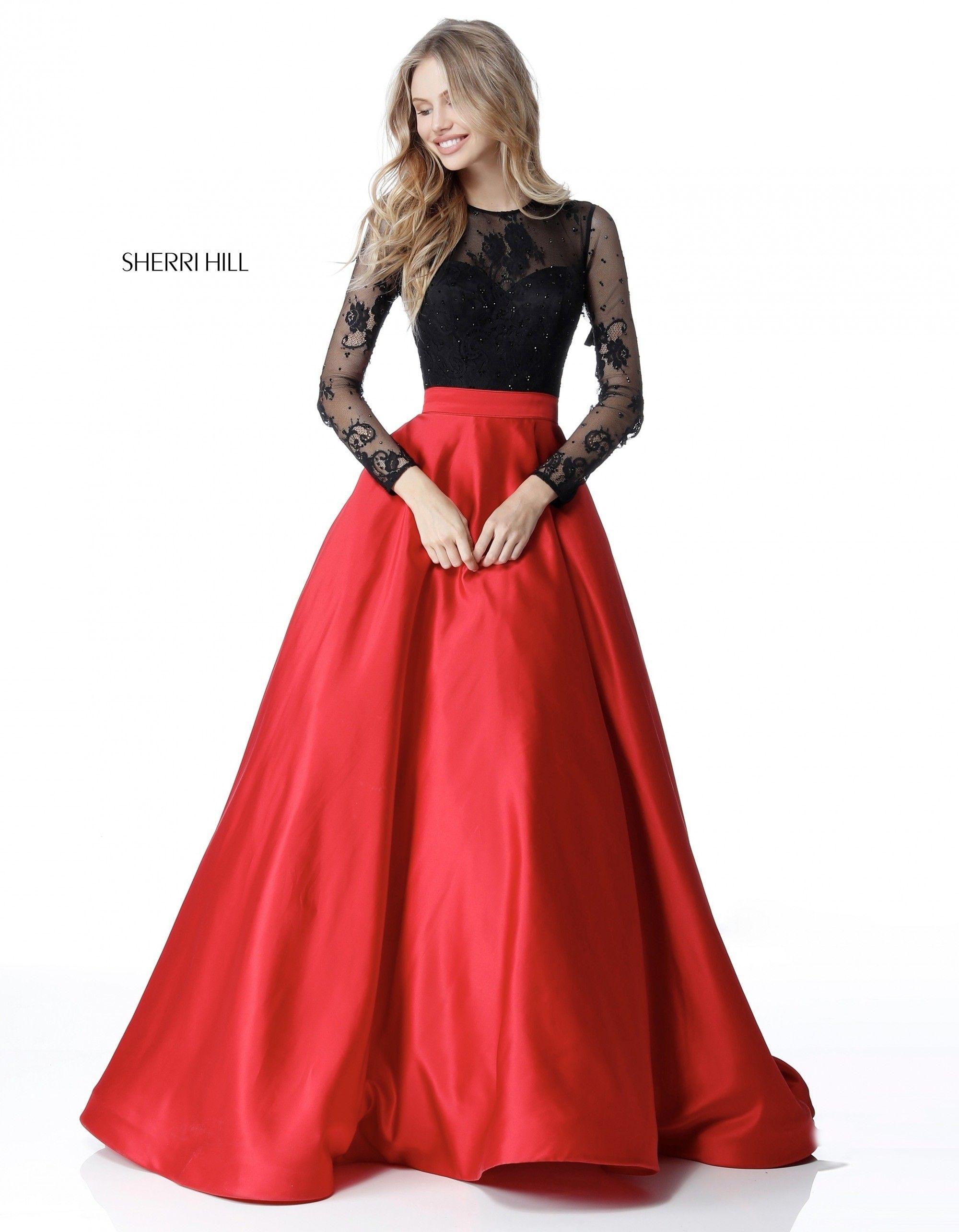 Sherri Hill 51586 Long Sleeve Lace Taffeta Ball Gown