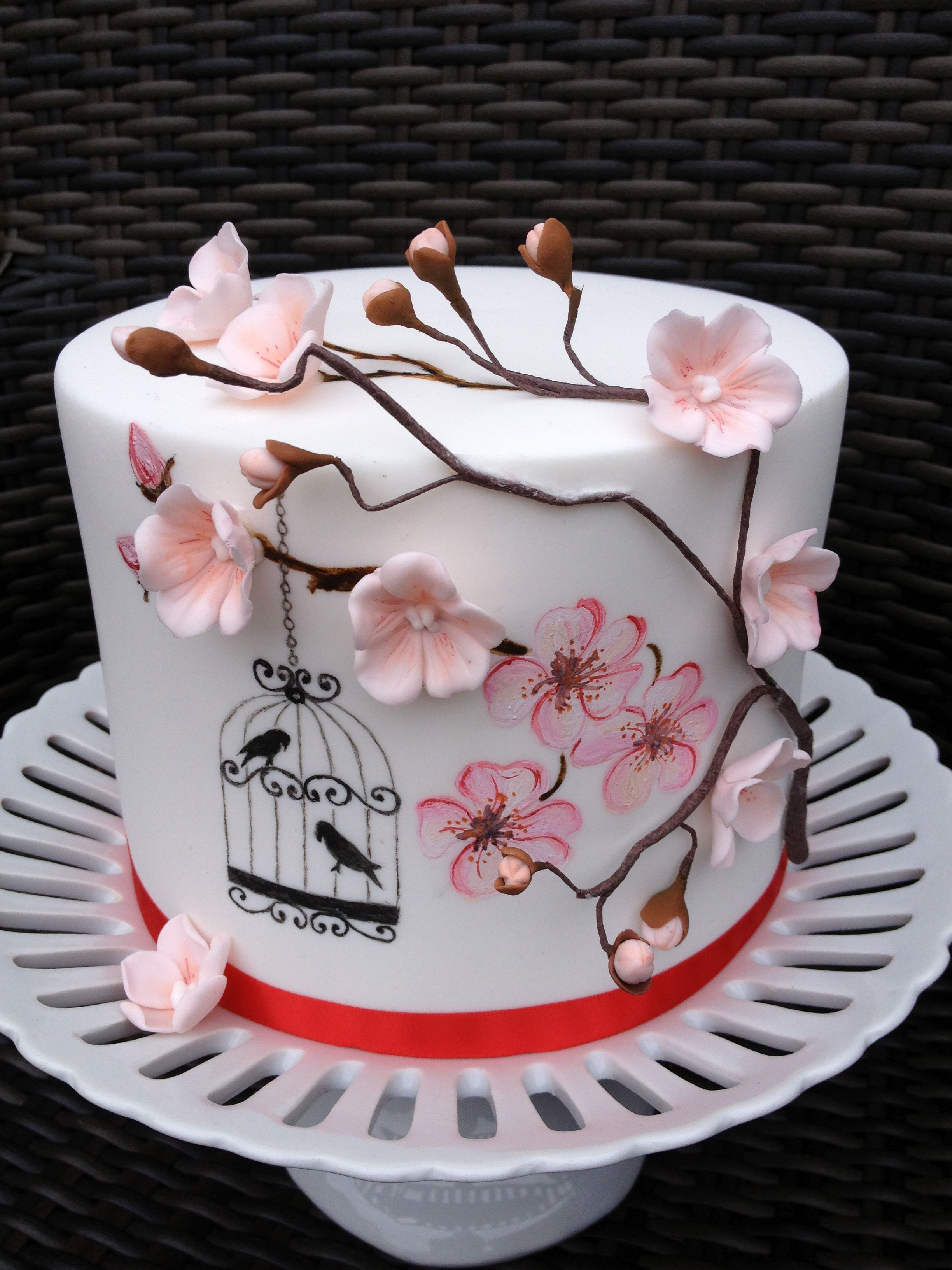 Einfacher Fondant Kuchen Hand Painted Cherry Blossoms And Birdcage Holiday