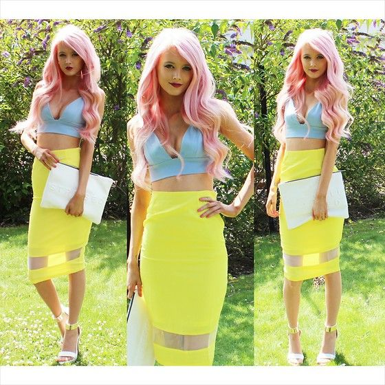 Kirsty Mooney - In The Style Bralet, In The Style Midi Skirt, Zara Clutch, Public Desire Heels - High Summer Brights