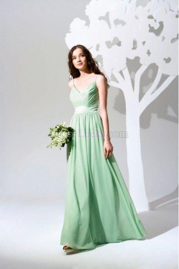 Sheath/Column Zipper Up Empire Sleeveless Long/Floor-length Chiffon Bridesmaid Dresses BD244A