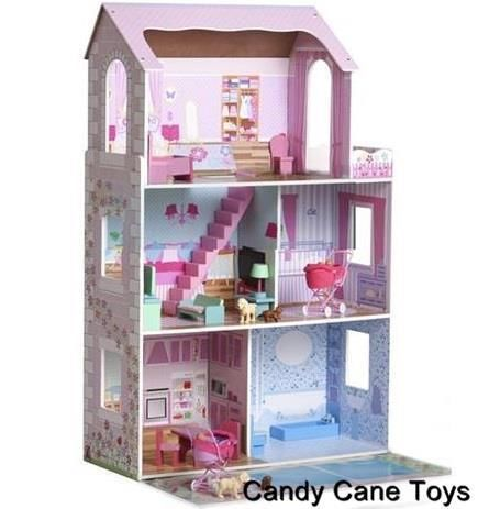 New Wooden Dollhouse Play Set Furnished 3 Story Dollshouse For 30cm Dolls Wooden Dollhouse Furnishings Wooden