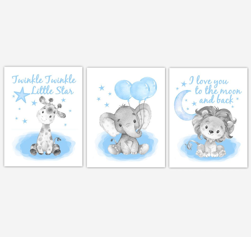 Blue Baby Nursery Wall Art Baby Elephant Print Safari Animal Etsy In 2021 Baby Nursery Wall Art Baby Girl Nursery Wall Art Baby Boy Nursery Decor