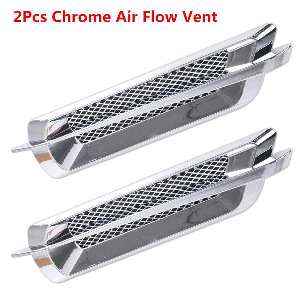 2pcs Euro Style Chrome Side False Vent Car Air Flow Intake Fender