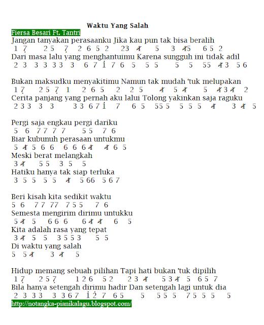 Chord Aku Bisa Flanella : chord, flanella, Angka, Pianika, Waktu, Salah, (Fiersa, Besari, Tantri), Pianika,, Musik,