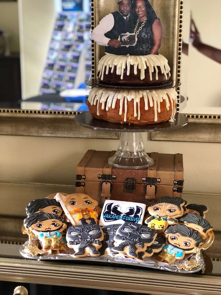 86273ed10f6 Loving the cookies at this Black Panther Baby Shower!! See more party ideas  and share yours at CatchMyParty.com  catchmyparty  partyideas  babyshower  ...