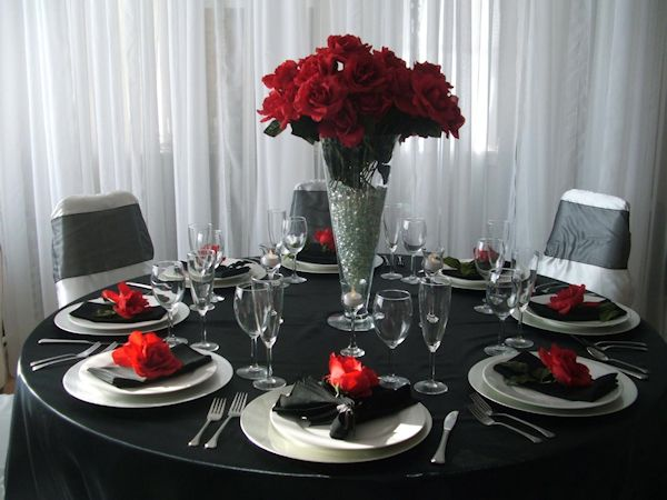 Red Floral Centerpieces Red And White Weddings Red Silver