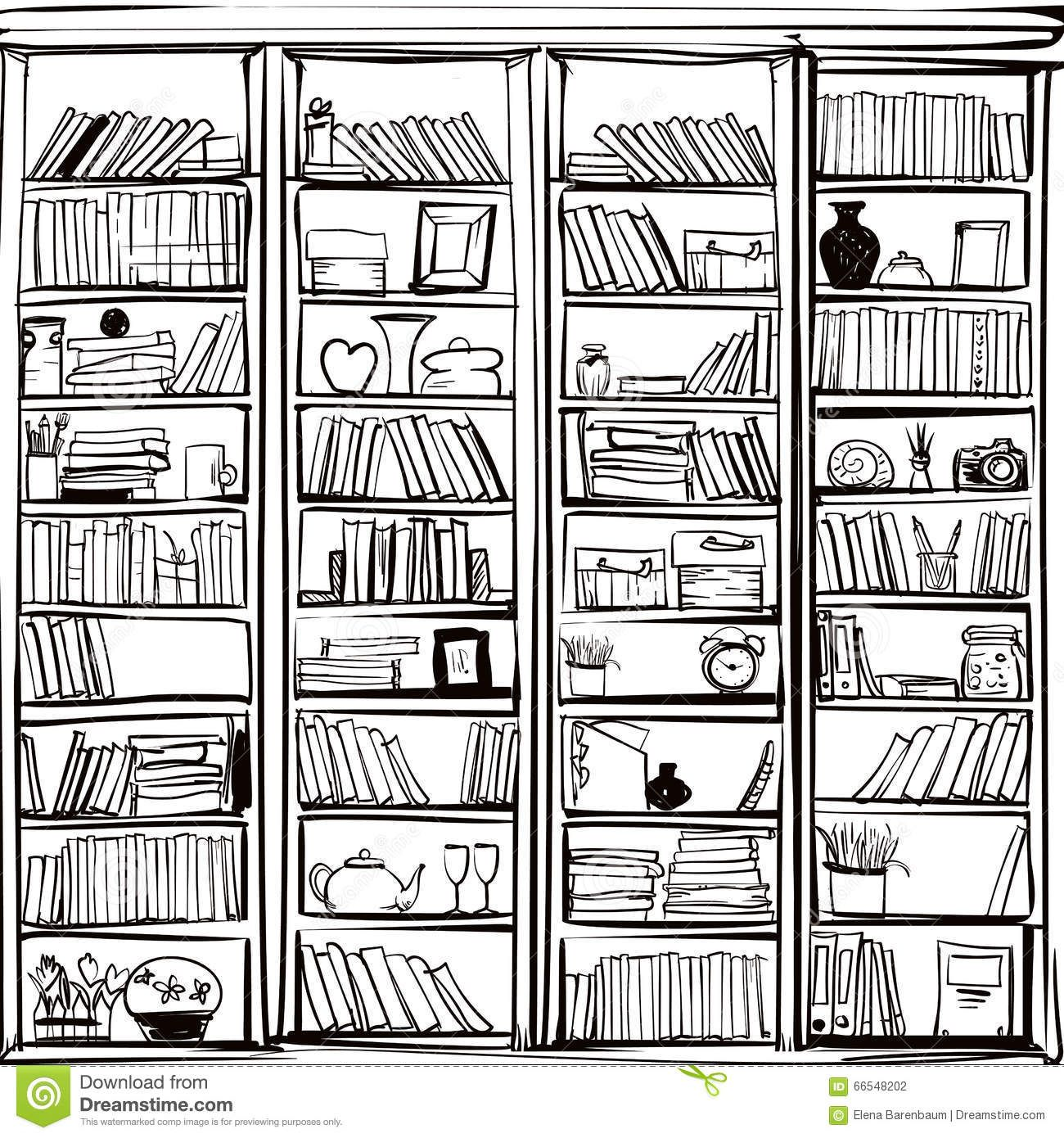 Vector Of Library Book Shelf Doodle Background Doodle Background Doodle Books Bookshelves
