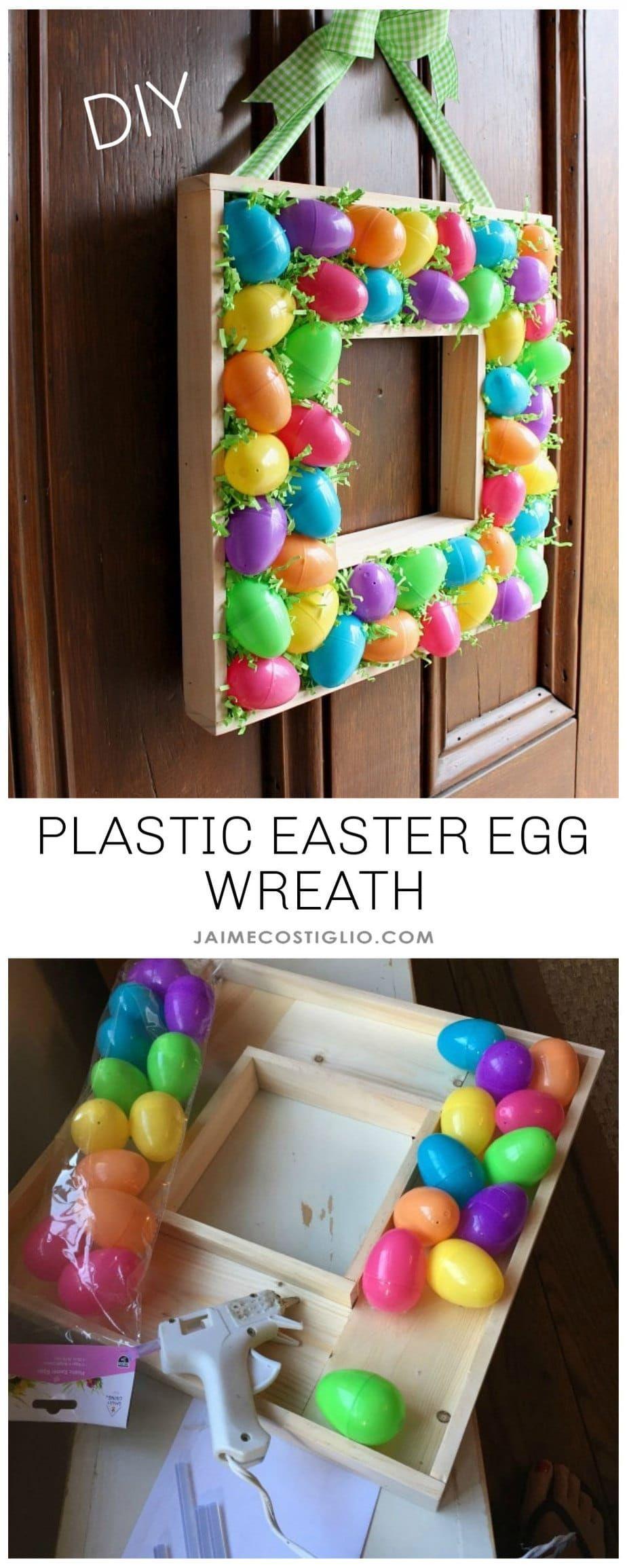 Photo of Plastic Egg & Scrap Wood Wreath – Jaime Costiglio