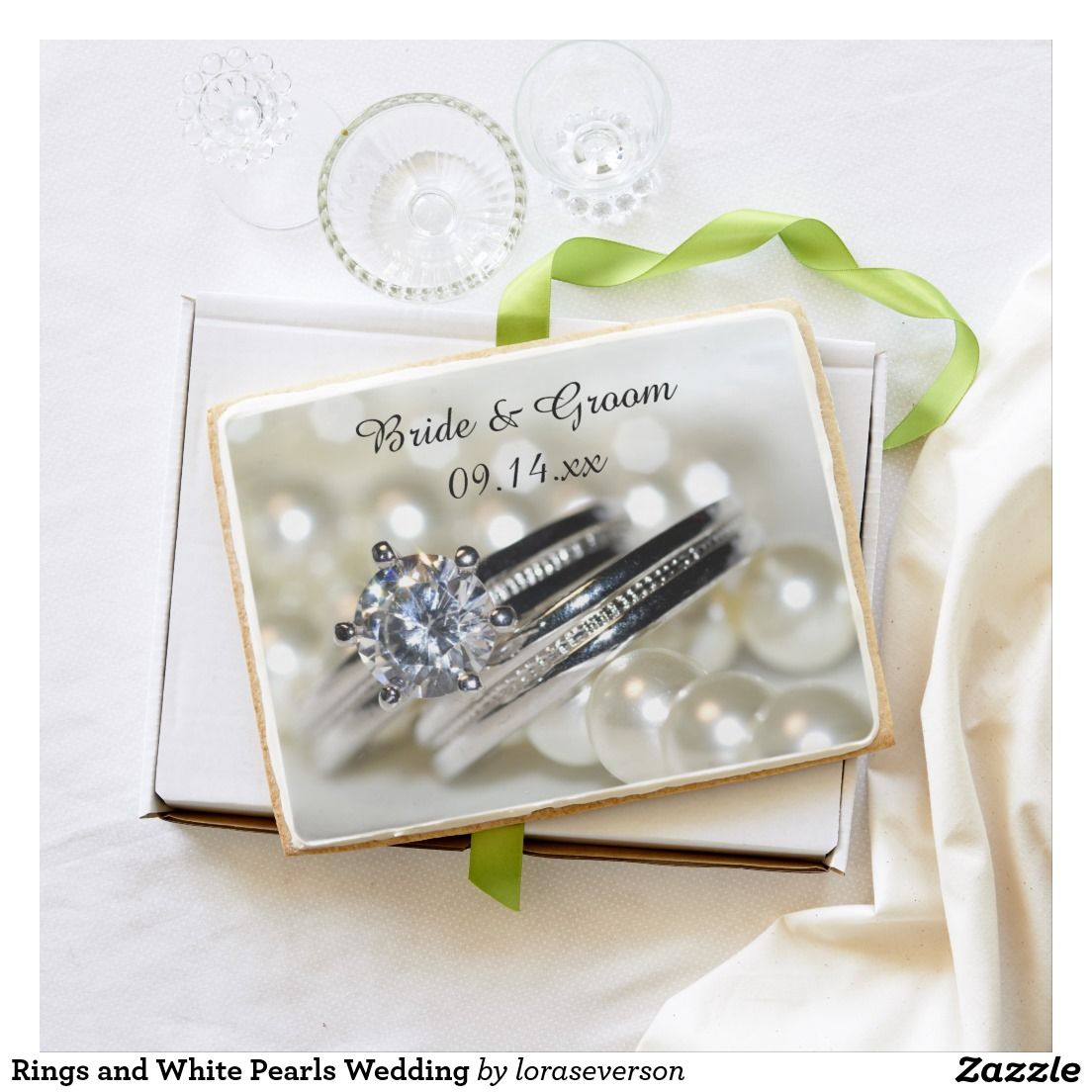 Rings and White Pearls Wedding Jumbo Shortbread Cookie | Wedding ...