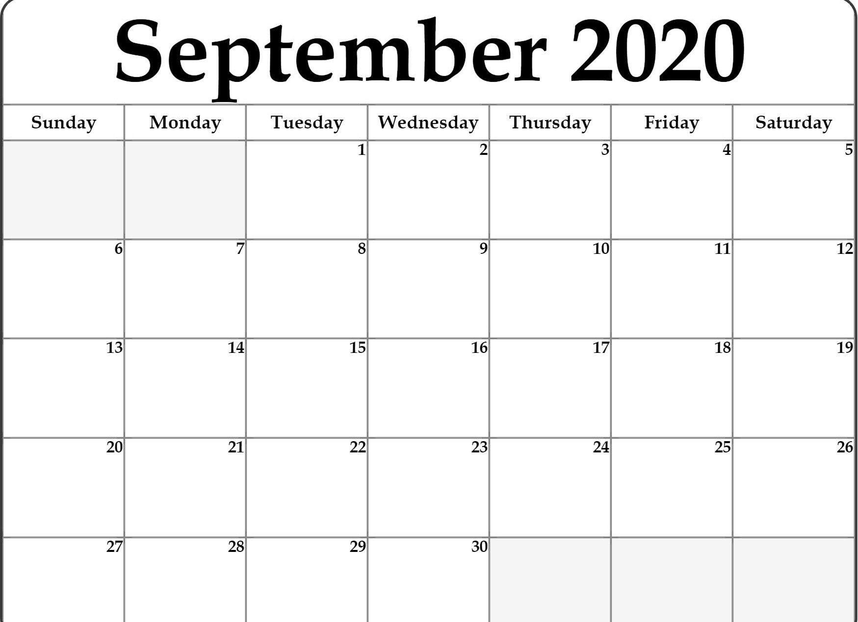 Blank September 2020 Calendar Printable Free Download In 2020