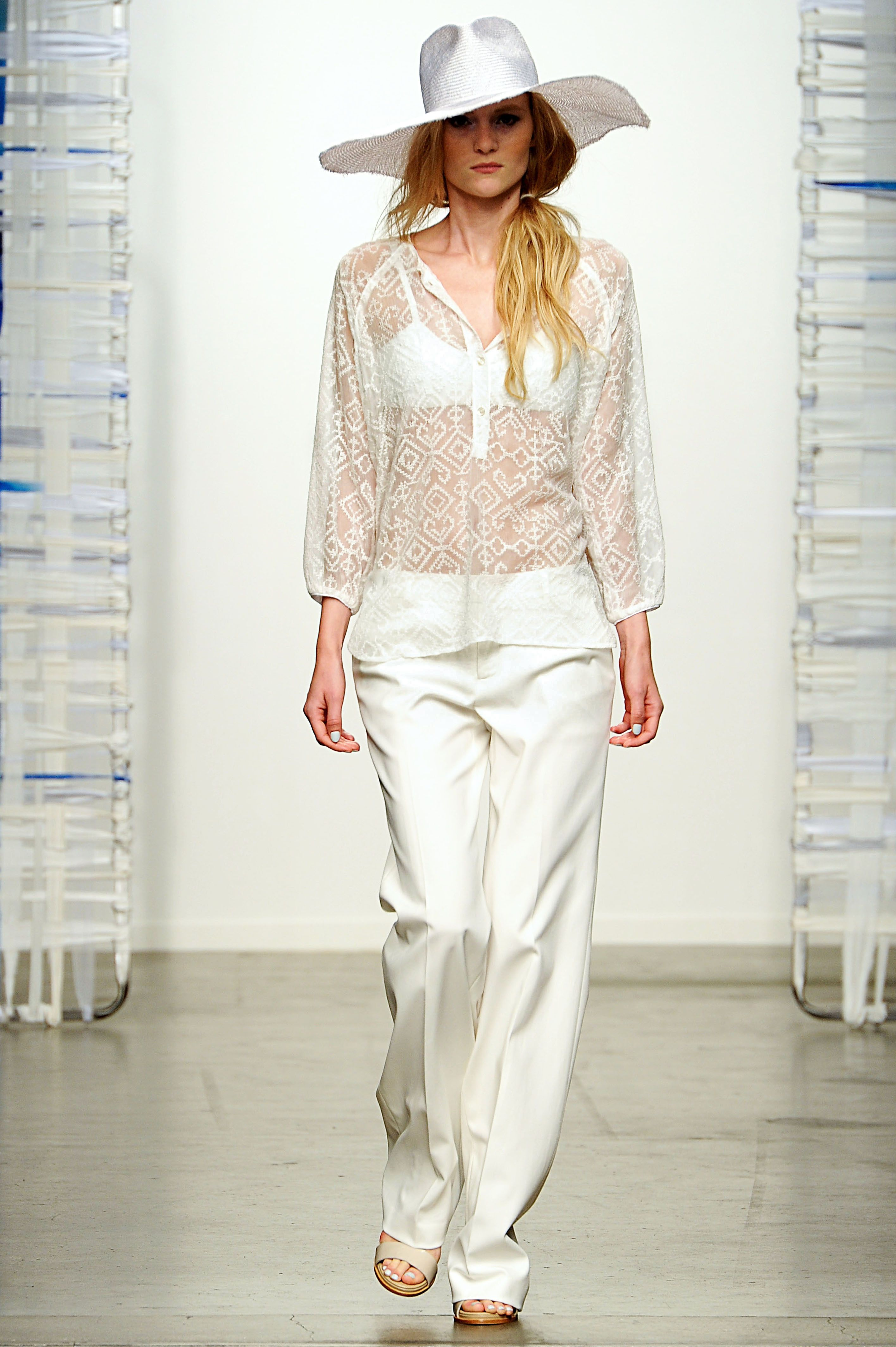 White Embroidered Peasant Top, White Leather Bandeau, and White Cotton Stretch Trouser