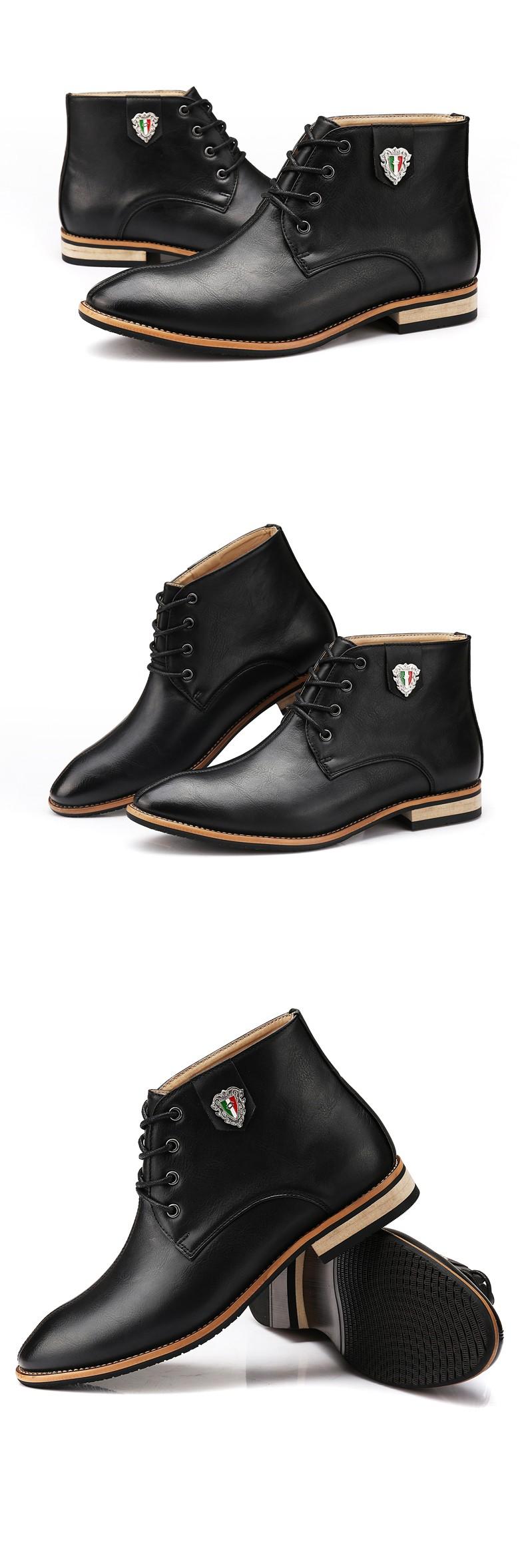 Botas de cuero negro para hombre zapatos de vestir for Diseno de zapatos