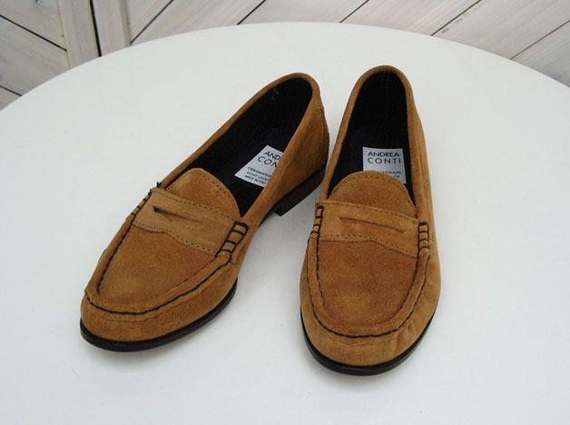 Vintage Schuhe Slipper, Andrea Conti, Wildleder, cognac