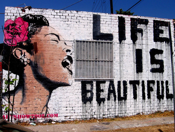 Banksy Canvas (READY TO HANG) - Life is Beautiful - Multiple Canvas Sizes