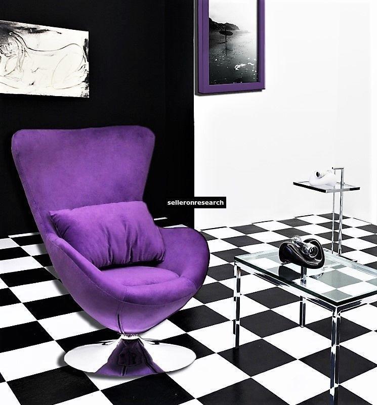 Modern Lila Stoffsessel Wohnzimmer Drehsessel Eiersessel Cocktailsessel Mobel Modern Chairs Lounge Chair Swivel Armchair